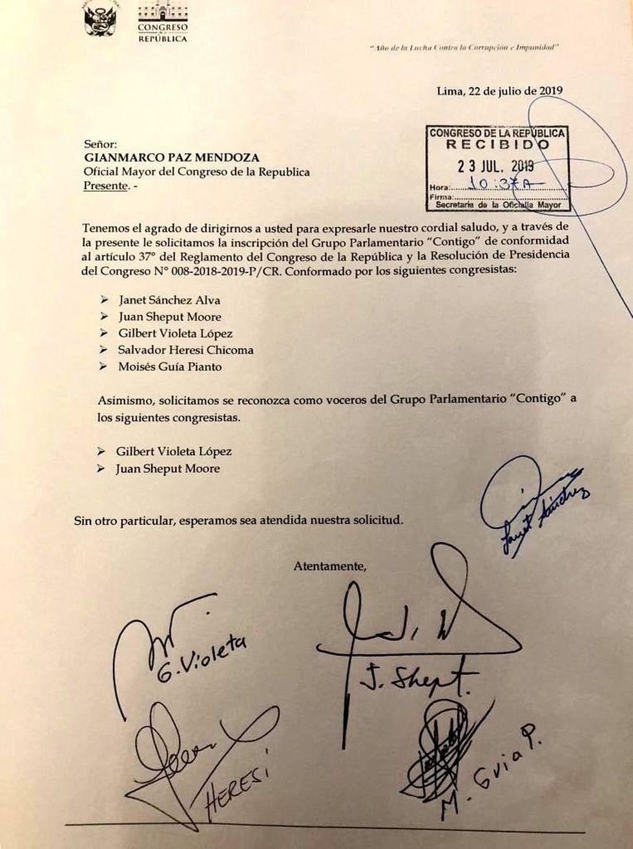 La nueva bancada Contigo envió este documento para solicitar su formalización. (Foto: El Comercio)