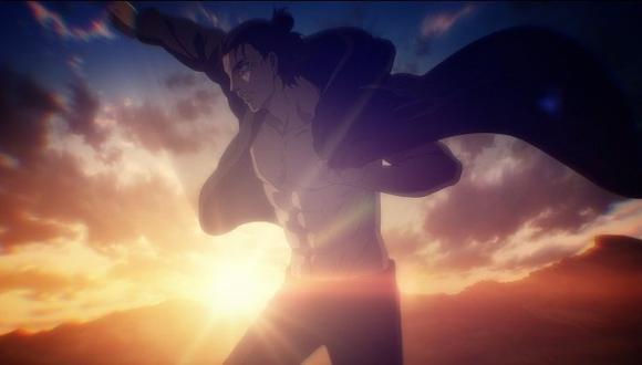 """Eren Yeager, luciendo su cuerpo de gimnasio en """"Attack on Titan: The Final Season"""" episodio 12. Esta toma ha causado regular impacto entre los fans de la historia. Foto: Crunchyroll."""