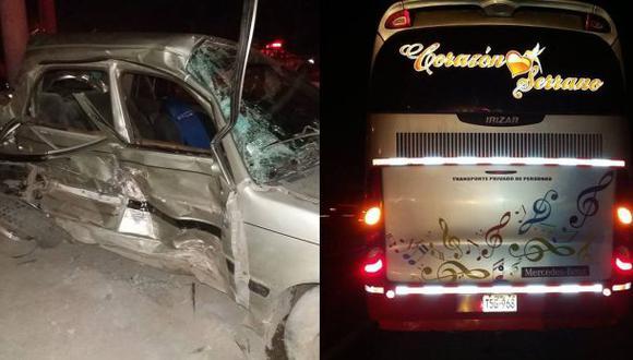 Ya son 7 muertos tras choque de bus de Corazón Serrano con auto