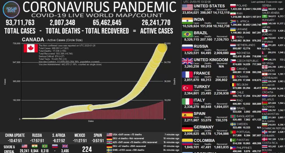 Mapa del coronavirus COVID-19 EN VIVO hoy, miércoles 20 de enero de 2021. (Universidad Johns Hopkins).