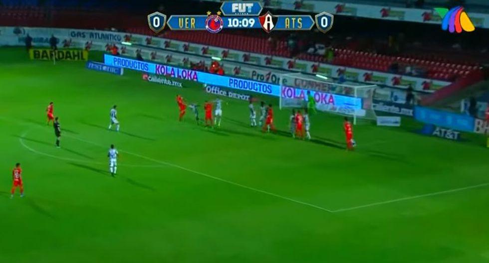 El delantero argentino Cristian 'El Polaco' Menéndez recibió la asistencia del chileno Bryan Carrasco y anotó el 1-0 a favor de 'Los Tiburones' de Veracruz. (Foto: captura de video)