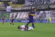 Boca Juniors vs. Santos: Frank Fabra y el pisotón en el vientre contra Marinho que le costó la expulsión   VIDEO