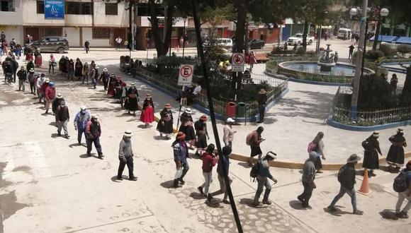 La movilización en Challhuahuacho el último jueves 3. (Foto: cortesía)