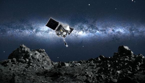 Ilustración: Osiris-Rex acercándose a la superficie del asteroide Bennu. (Foto: NASA/GODDARD/UOA)