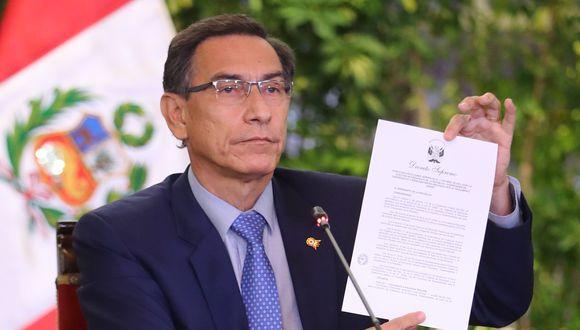 El presidente Martín Vizcarra firmó el decreto supremo, mediante el cual convoca a comicios generales. La segunda vuelta sería el 6 de junio del próximo año.  (Foto: Presidencia)
