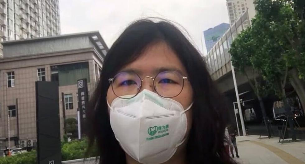 La periodista ciudadana Zhang Zhan, que cubrió la epidemia del coronavirus COVID-19 en Wuhan, fue condenada este lunes a cuatro años de prisión por las autoridades de China. (Captura de video Zhang Zhan)