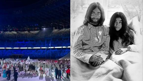A la izquierda, una escena de la inauguración de los Juegos Olímpicos de Tokio 2020 en Japón. A la derecha, John Lennon y su esposa Yoko Ono en marzo de 1969. Fotos: ATV/ AFP.