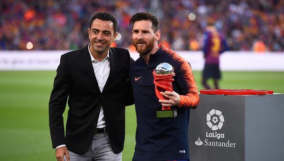 Xavi reconoció que es amigo de Lionel Messi, pero que sueña con dirigirlo. (Foto: AFP)