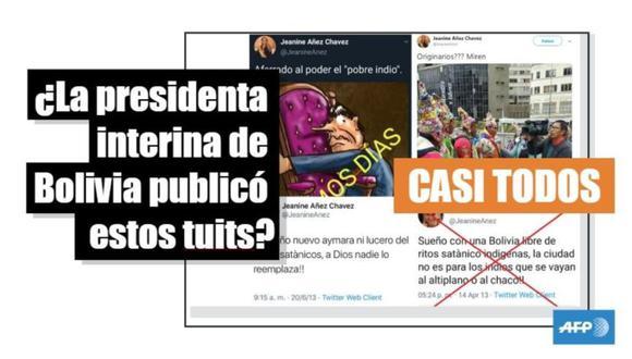 """Estos son los agresivos tuits contra """"originarios"""" e """"indígenas"""" que borró Jeanine Áñez, la presidenta de Bolivia. (Imagen: AFP)"""