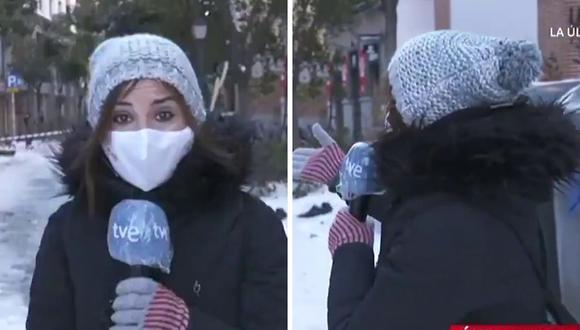 María Escolar no imaginó lo que iba a suceder mientras hacía un enlace en vivo. (Foto: @cosasclarastve | TVE | Twitter)