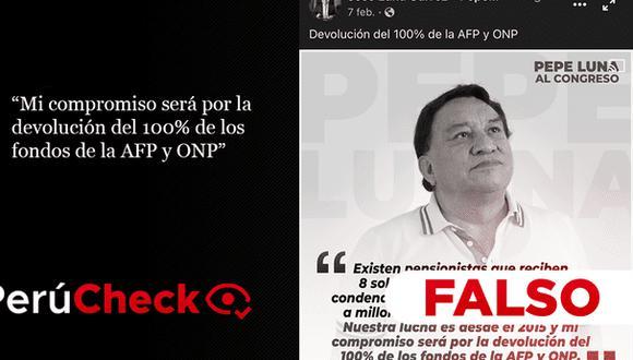 PerúCheck. La afirmación del candidato al Congreso por Podemos Perú fue sometida a fact checking.