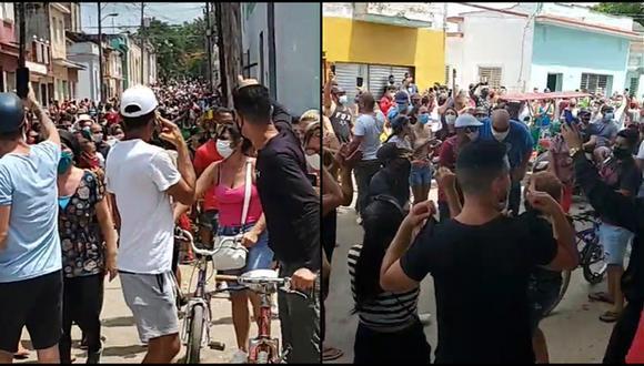 Cientos de personas salieron este domingo a la calle a protestar contra el Gobierno de Cuba en el pueblo de San Antonio de los Baños, en Artemisa. (Redes sociales).