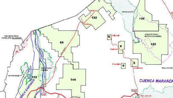 Según mapa de Perupetro, el Lote 64 está ubicado sobre la frontera con Ecuador.