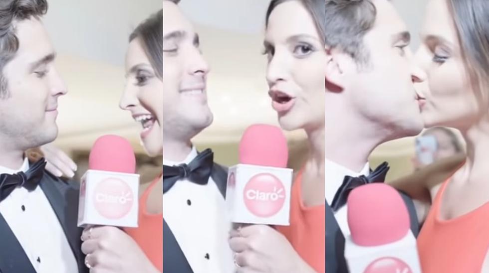 Diego Boneta y la actriz chilena Daniela Palavecino, quien lo besó en plena entrevista en Viña del Mar.