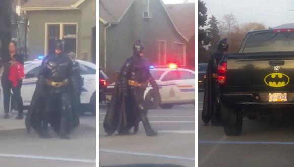 Este es el preciso momento en el que 'Batman' es rechazado por la policía y enviado de vuelta a su casa. (Foto: Melissa Parent en Facebook)