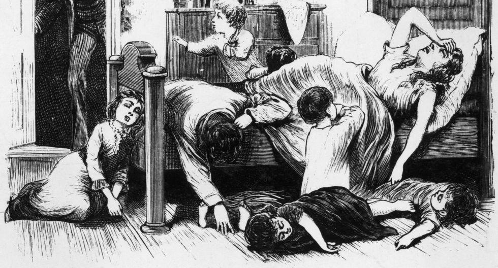 Grabado que ilustra a las víctimas de la fiebre amarilla en la ciudad de Memphis, en Estados Unidos, a mediados de siglo XIX. La enfermedad se extendió también a nuestras costas en la misma época.