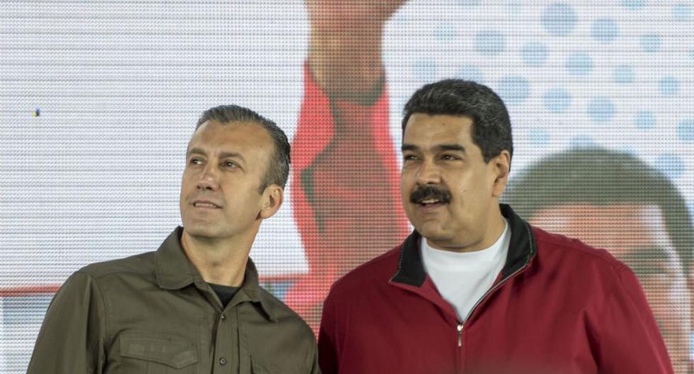 Nicolás Maduro (R) nombró como vicepresidente dela petrolera estatal a Tareck El Aissami  que tendrá poderes incontestables para reestructurar la industria nacional. (Foto: Archivo/AFP).