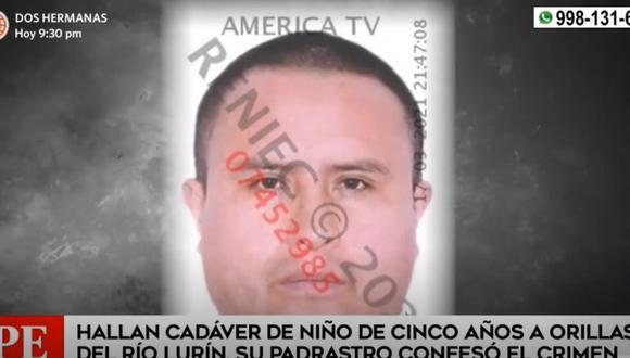 John Reyes Calderón confesó el crimen en agravio de su hijastro de 5 años en Lurín. (Captura: América Noticias)