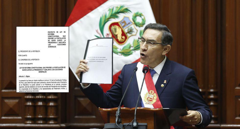 Martín Vizcarra hizo el anuncio en su mensaje a la nación del 28 de julio mostrando un fólder con un título distinto al proyecto aprobado este miércoles en Consejo de Ministros. (Foto: Presidencia / El Comercio)