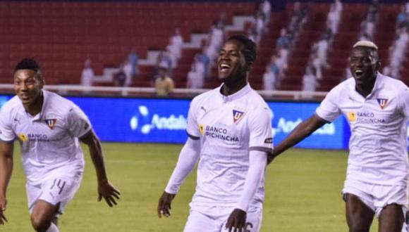 'Albos' vencieron 4 - 1 a Aucas en partido por la fecha 7 de LigaPro 2020 de Ecuador (Foto: Twitter LDU oficial)