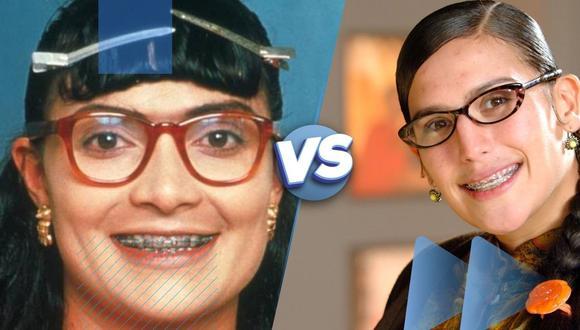 """""""Yo soy Betty, la fea"""", cumplió este año dos décadas de su exitoso final. (Derecha) Angélica Vale el remake mexicano en 2006. (Diseño: Saltar Intro)"""