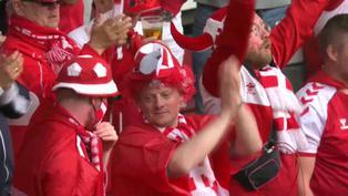 Euro 2021: Hinchas de Dinamarca y Finlandia entonan cánticos en apoyo Christian Eriksen