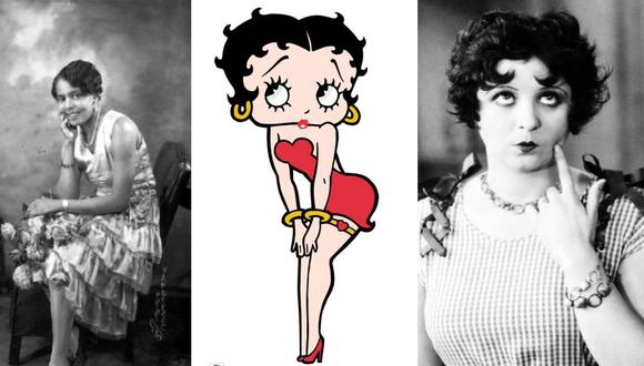 Betty Boop flanqueada por Esther Jones (izq.) y Helen Kane (der.), las dos mujeres que habrían inspirado su imagen y estilo.