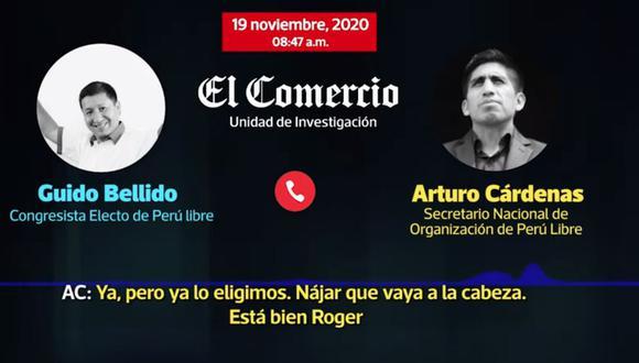 Audio en el que Arturo Cárdenas y Guido Bellido sugieren el nombre de Roger Nájar, voceado para asumir la PCM. (Captura: El Comercio)