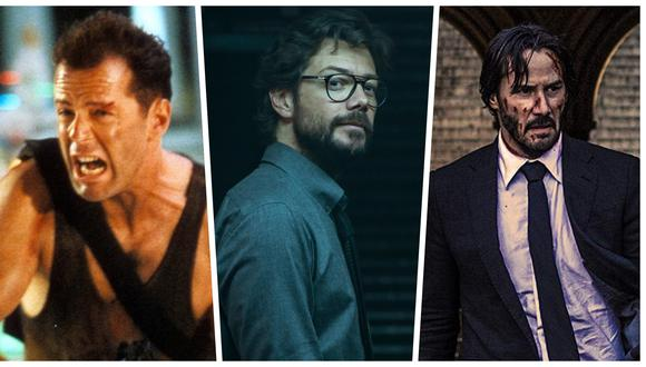 """De izquierda a derecha John McClane de """"Duro de matar"""", El Profesor de """"La casa de papel"""" y John Wick de """"John Wick"""". Fotos: Difusión."""