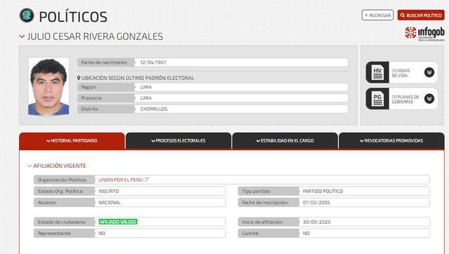 Registro de la afiliación en portal del JNE