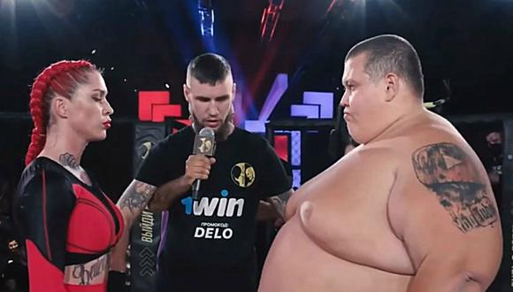 La pelea entre una luchadora de 63 kilos y un youtuber de 240 kg que se volvió viral en Internet. (Foto: Vullnet Maksuti / YouTube)