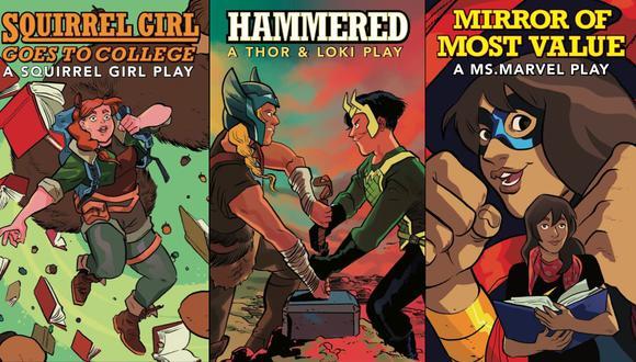 Son tres obras de un solo acto con personajes como Thor, Loki, Squirrel Girl y Ms. Marvel. (Fuente: Marvel)