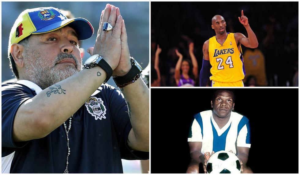 Diego Maradona, Kobe Bryant y 'Perico' León fueron algunas leyendas del deporte que nos dijeron adiós este 2020. (Fotos: AFP / El Comercio)