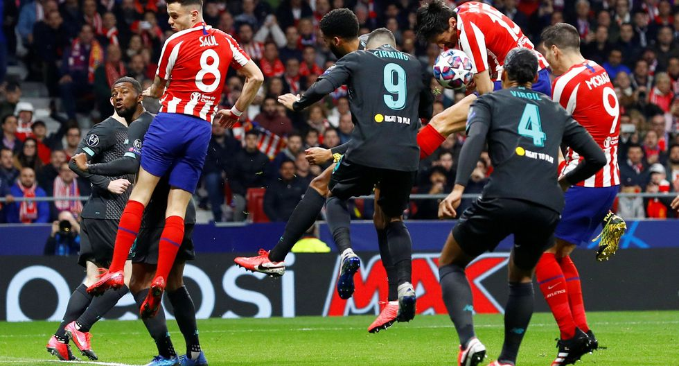Soccer Football - Champions League - Round of 16 First Leg - Atletico Madrid v Liverpool - Wanda Metropolitano, Madrid, Spain - February 18, 2020  Atletico Madrid's Stefan Savic in action before Saul Niguez scores their first goal   REUTERS/Juan Medina
