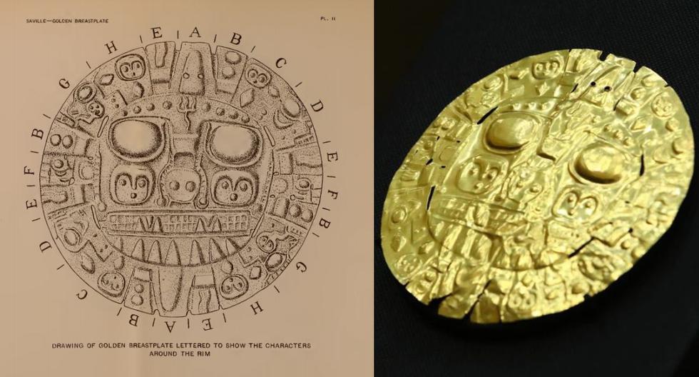Izq.: dibujo del Sol de Echenique realizado por el geógrafo inglés Clements R. Markham. Der.: la pieza fotografiada tras su repatriación al Perú. (Fotos: Smithsonian Institute/Ministerio de Cultura)