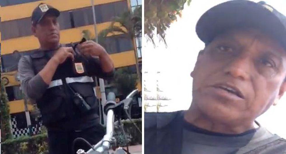 Sereno de Los Olivos fue grabado cuando insulta a pareja homosexual en Plaza de Armas del distrito. (Captura: @jujags)