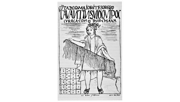 La famosa lámina de Guaman Poma de Ayala que ilustra a un Quipucamayoc, el 'contador mayor'.