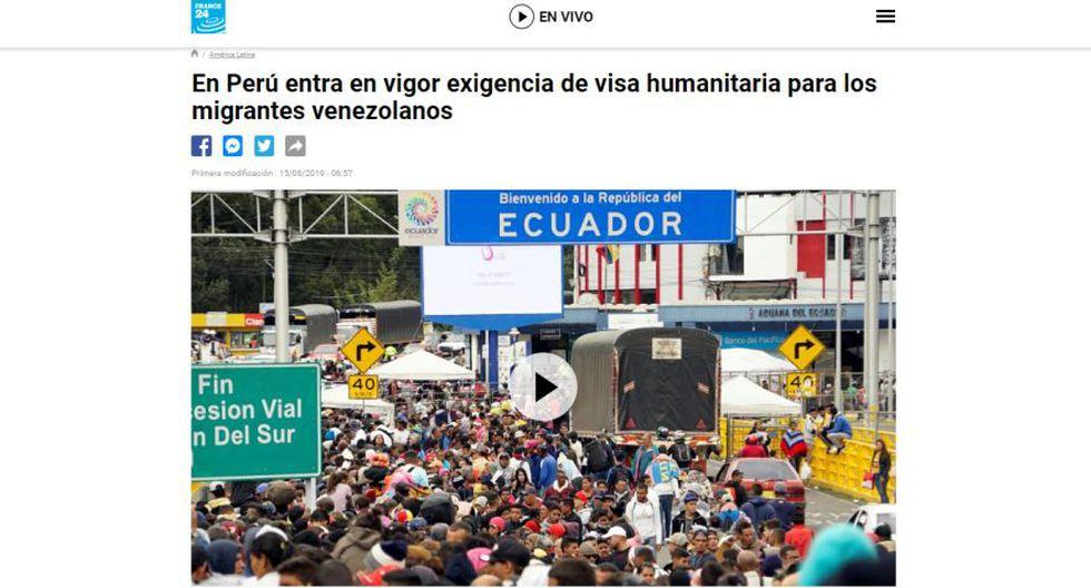 Así informa el medio France 24 sobre la exigencia de visa y pasaporte a los venezolanos en el Perú. (Captura)