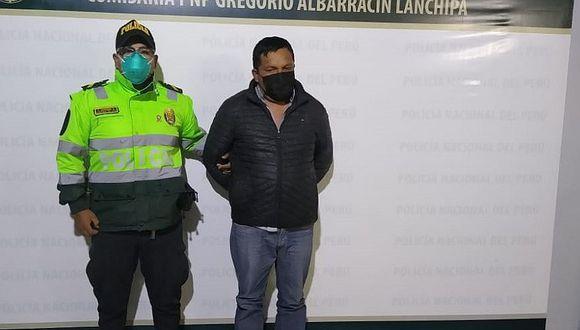 Tacna: el agresor fue intervenido en el interior de su vivienda y luego fue trasladado a la comisaría Gregorio Albarracín.