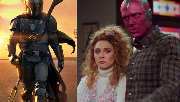 """""""WandaVision"""" ha sido nominada en 3 categorías de los Emmy; mientras que """"The Mandalorian"""" competirá en una importante categoría. (Foto: Lucasfilm/Disney+/Composición)"""
