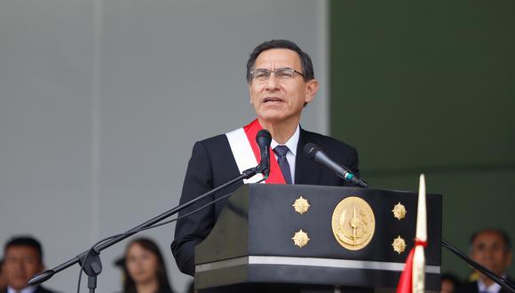 El presidente Martín Vizcarra participa en la ceremonia por el día de la creación del Ejército Peruano, el pasado viernes 16 de agosto. (Foto: Sepres).