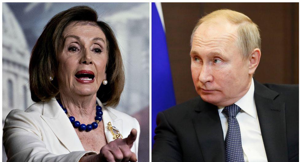 Nancy Pelisy, presidenta de la Cámara de Representantes de Estados Unidos, y el mandatario ruso Vladimir Putin. (Foto: Bloomberg/AFP/Archivo).