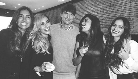 Ashton Kutcher se fue de fiesta con la novia de Neymar