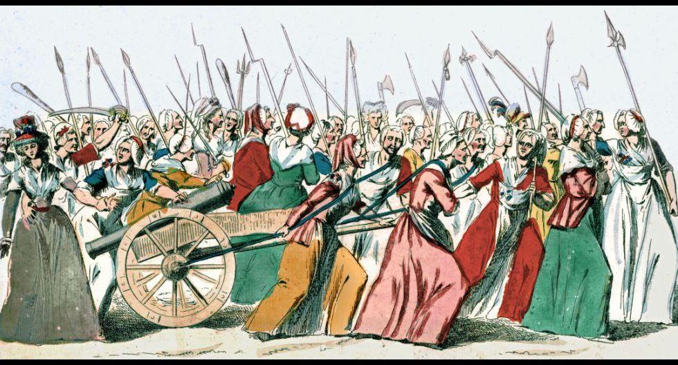 Mujeres marchan sobre Versalles durante la Revolución francesa. Ilustración conservada en la Biblioteca Nacional de Francia