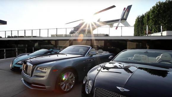 Un Bugatti Veyron, Rolls-Royce Dawn y un Bentley Continental GT C, 3 de los superautos que incluye la mansión. (Video: YouTube)