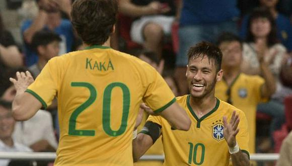 Neymar y Kaká han coincidido en algunos partidos de la selección de Brasil. (Foto: AFP)