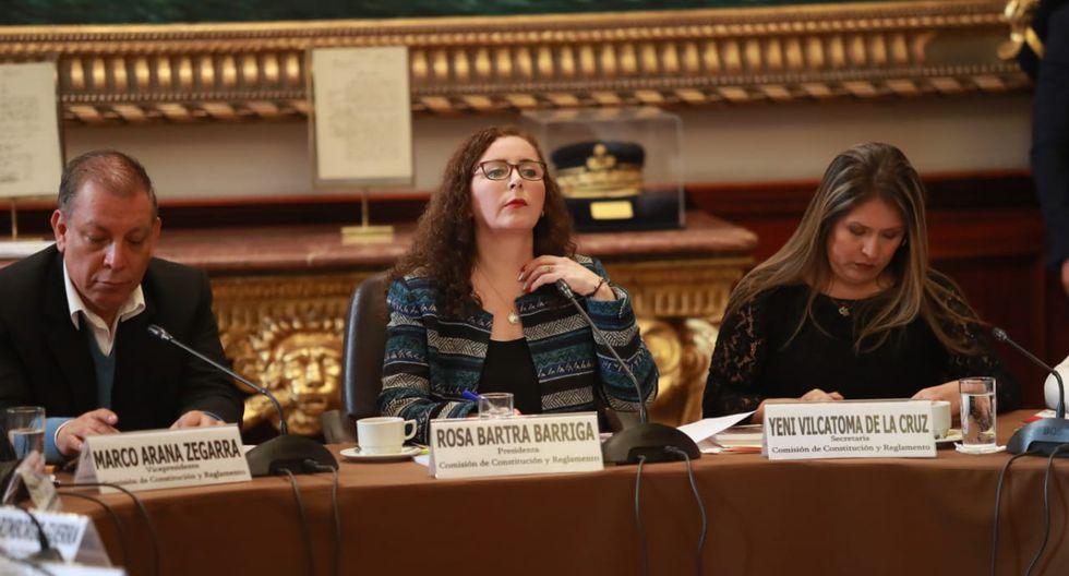 Rosa Bartra anunció el último miércoles que el predictamen del adelanto de elecciones se debatiría hoy en la Comisión de Constitución. (Foto: GEC)