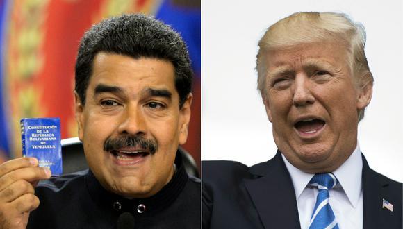 Donald Trump dijo el lunes que solo se reuniría con Nicolás Maduro para negociar su salida del poder en Venezuela. (Foto: FEDERICO PARRA y JIM WATSON / AFP).