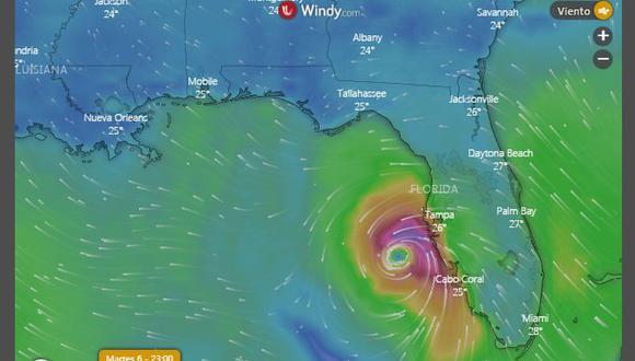 El huracán Elsa golpea Florida. (Windy).