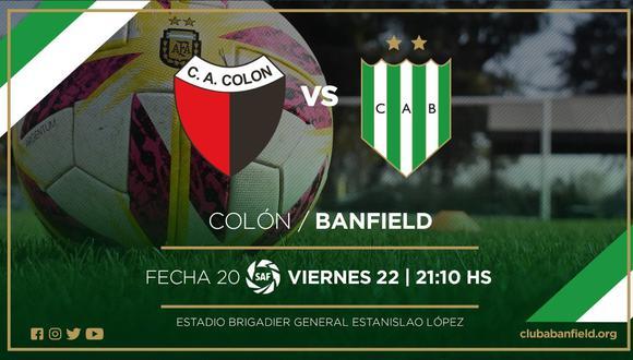 Colón vs. Banfield EN VIVO ONLINE vía TyC Sports: juegan por la jornada 20 de la Superliga Argentina.   Foto: Banfield